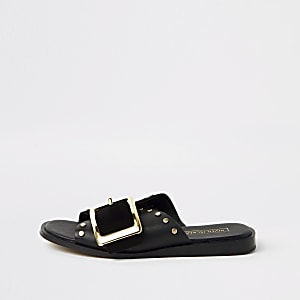 Black leather buckle flat sandals