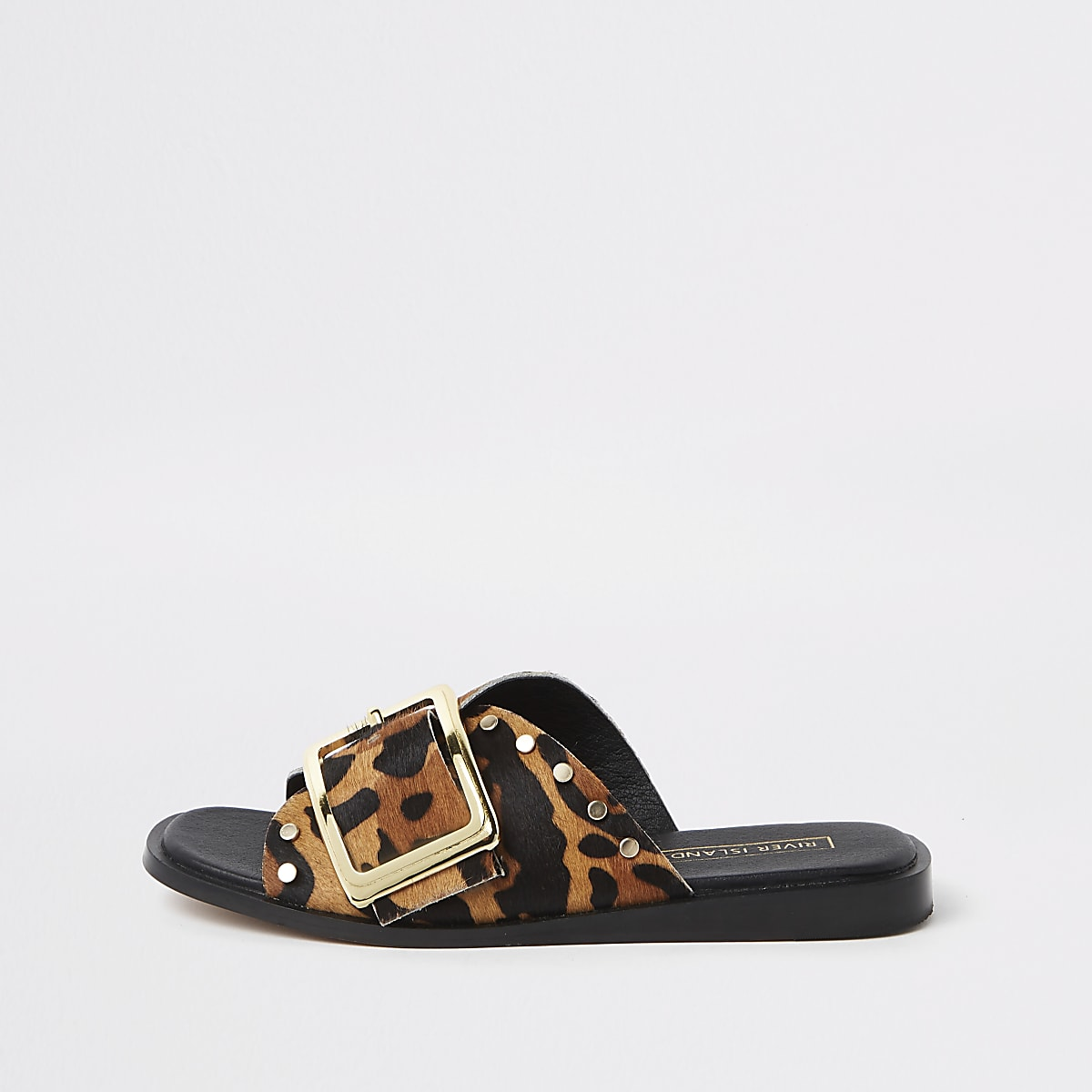 Brown leopard print mules