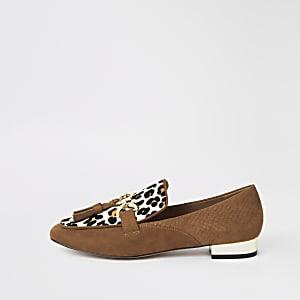 Bruine leren loafers met luipaardprint