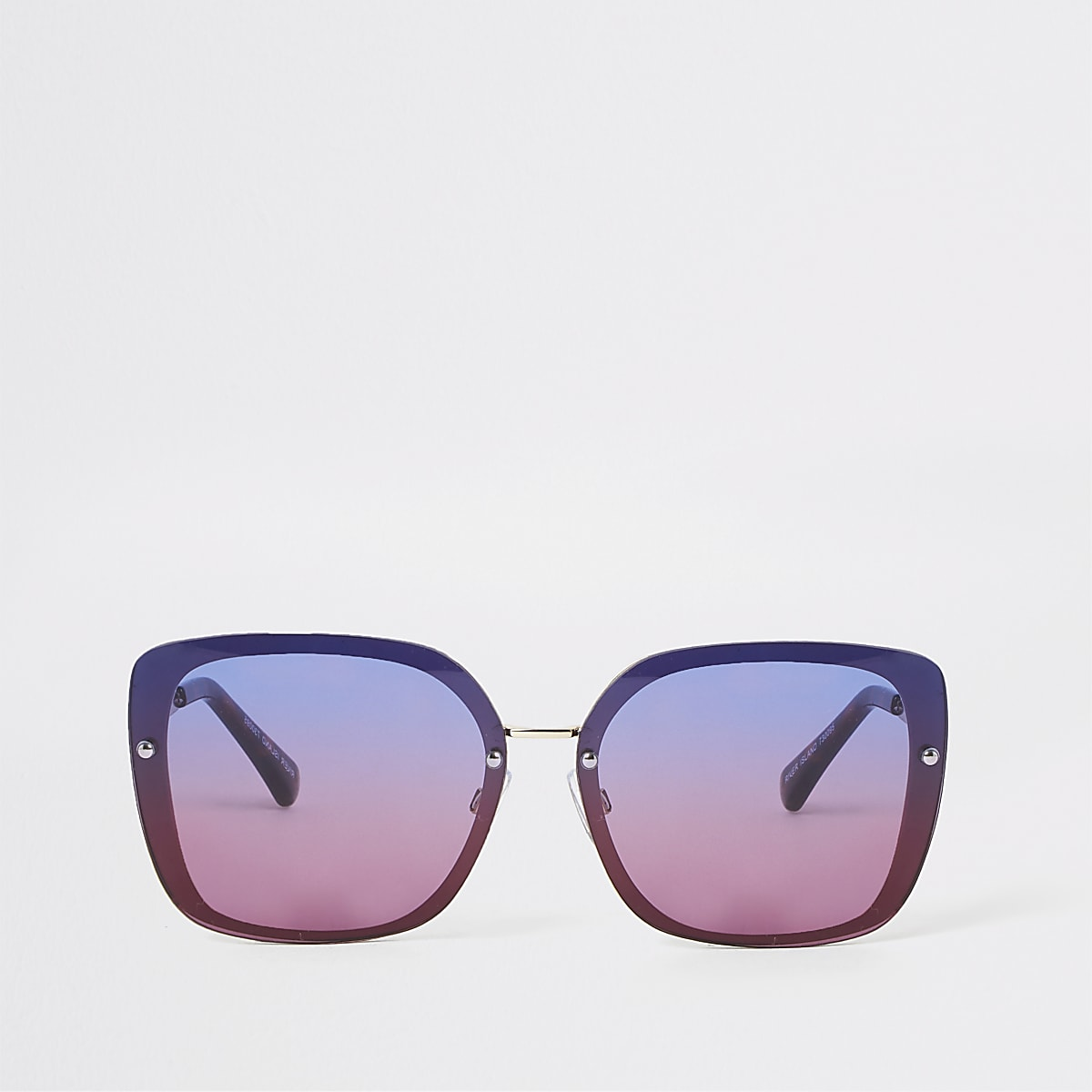 Gold tone blue ombre lens glam sunglasses