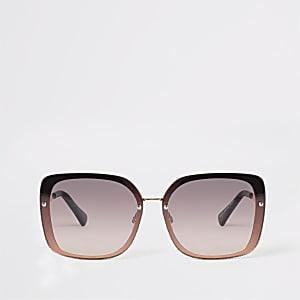 78824727c03 Rose gold tone glitter trim glam sunglasses