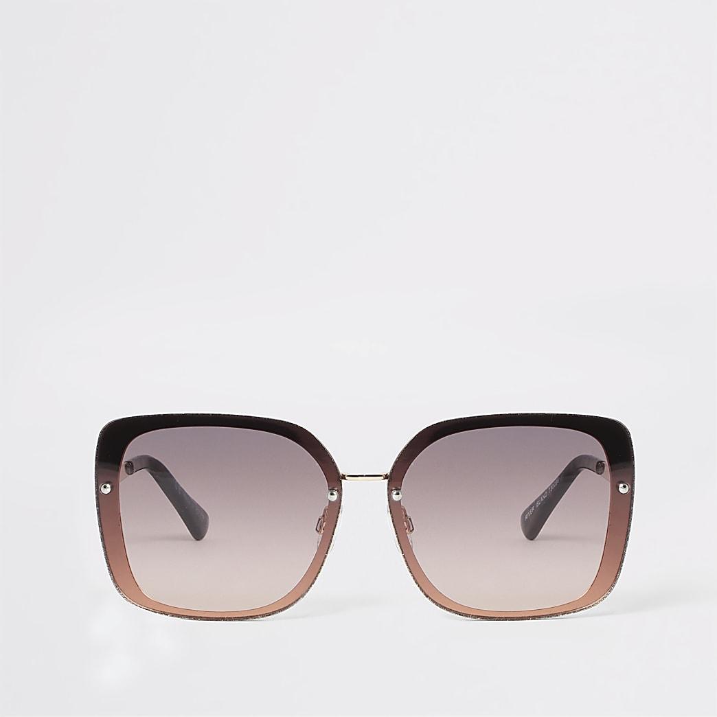 Rose gold tone glitter trim glam sunglasses