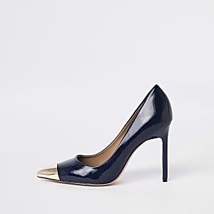Navy pointed toe court shoes