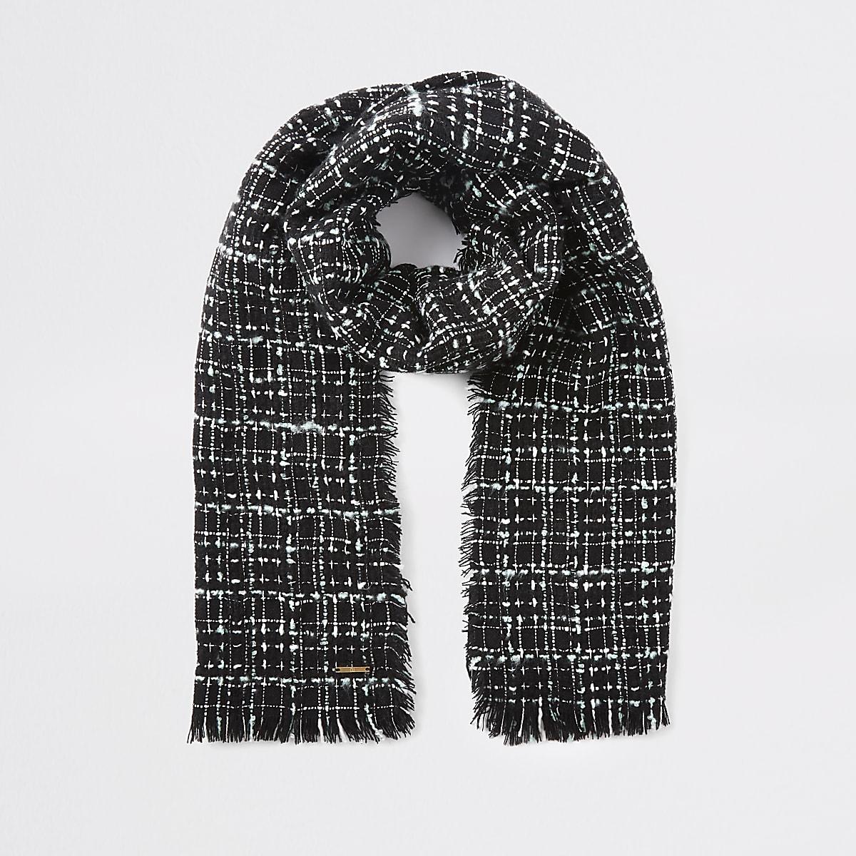 Zwarte bouclé geruite sjaal