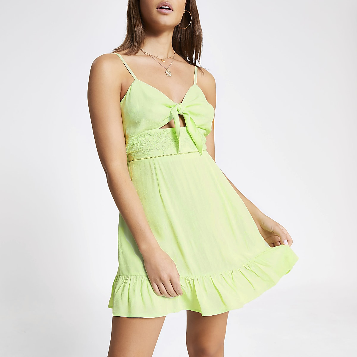 Lime knot front cut out beach dress