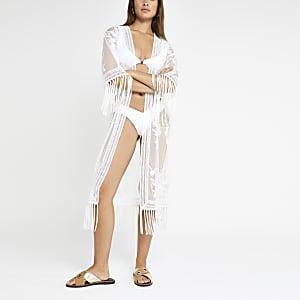 White lace midi caftan