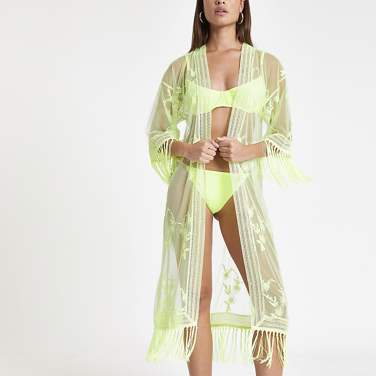 Neon green lace midi caftan