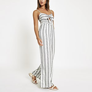 f85afbbee45 Cream stripe knot front beach jumpsuit
