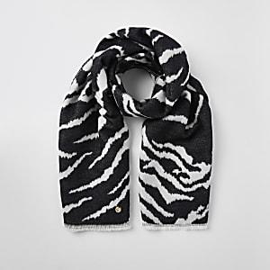 Schwarzer Schal mit Zebra-Print
