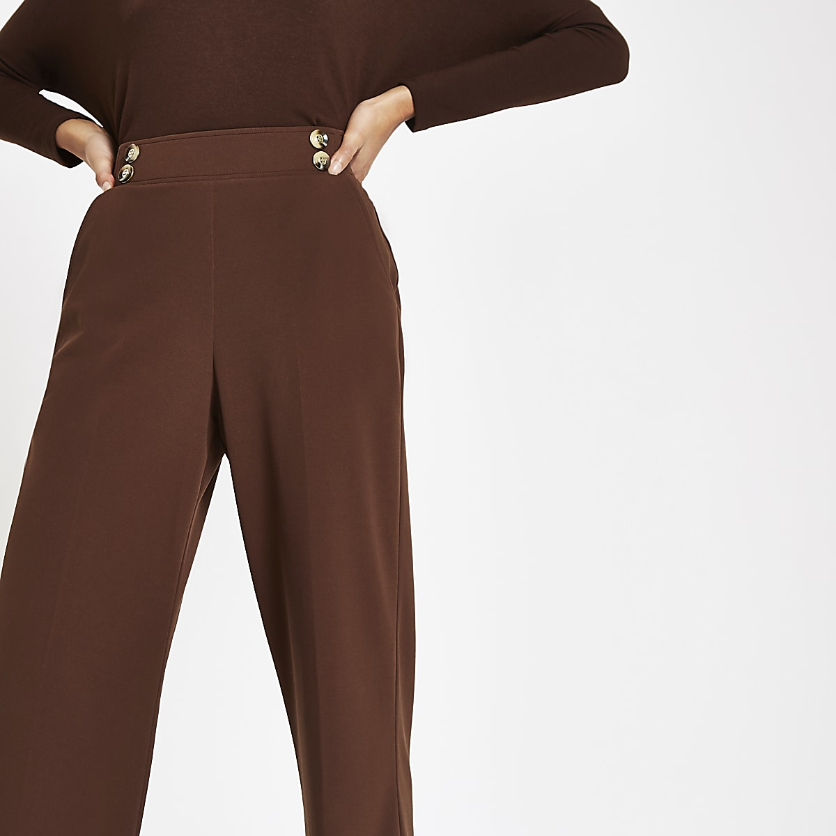 Pantalon large marron à boutons