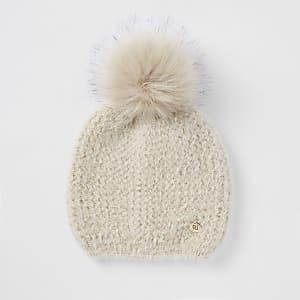 Beige faux fur pom pom beanie hat