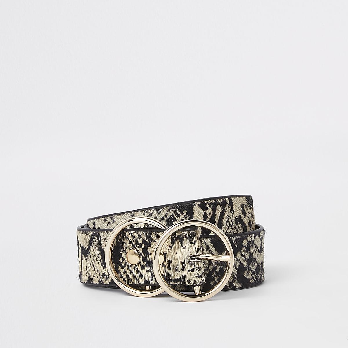 White snake print double ring belt