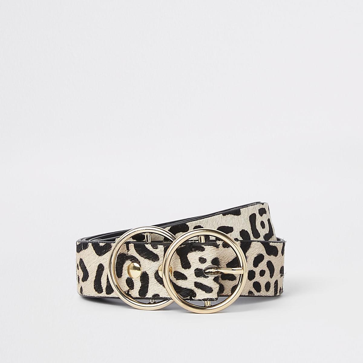 Witte riem met luipaardprint, dubbele ring en gesp