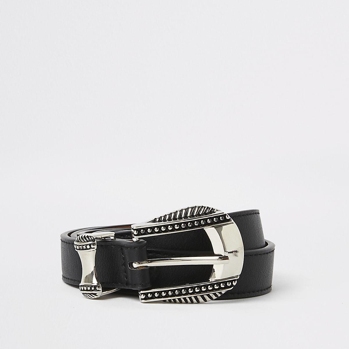 Black western style buckle belt