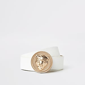 Ceinture blanche à boucle jaguar or rose