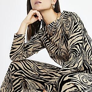 Petite – Beiges Oberteil mit Zebra-Print