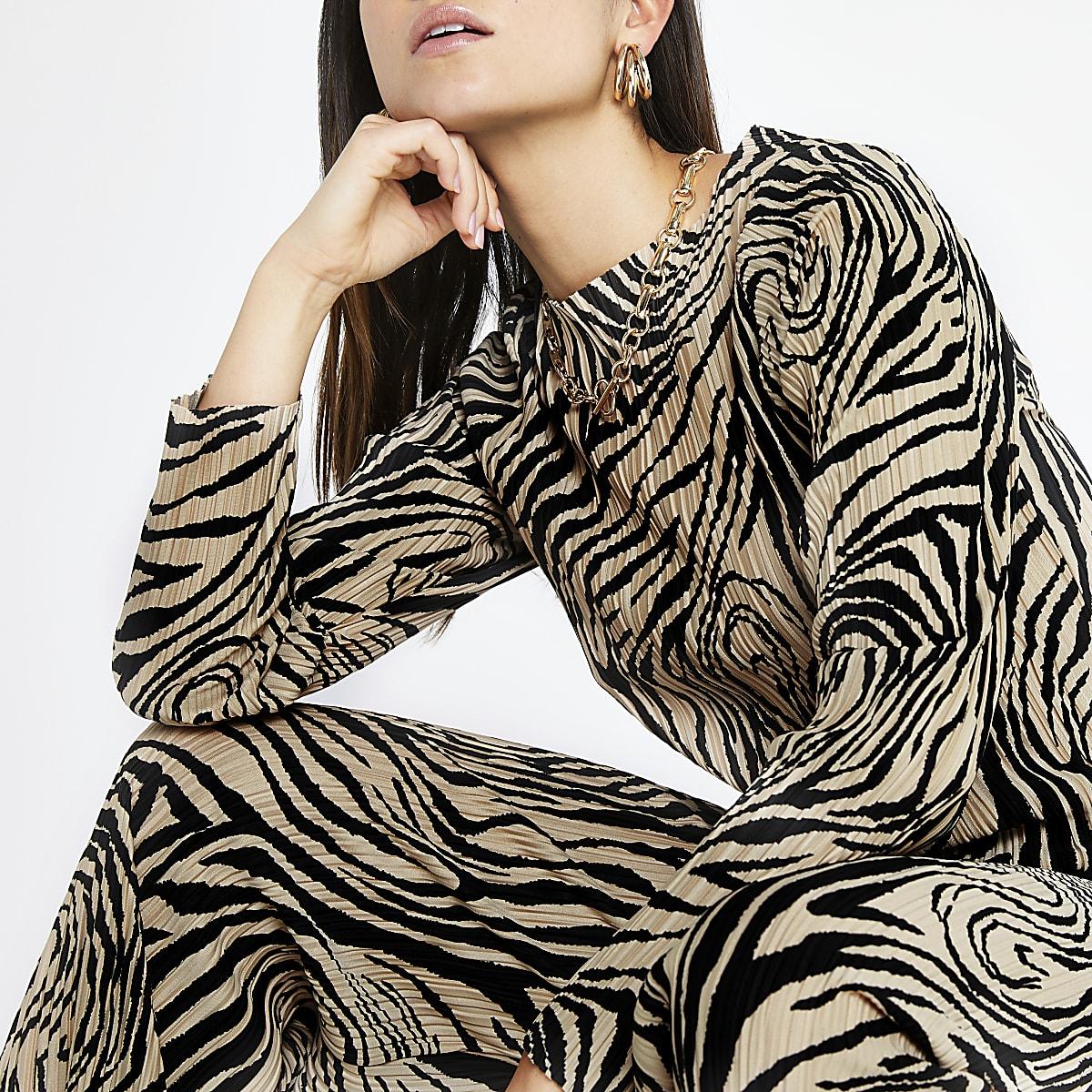 RI Petite - Beige plissé top met zebraprint