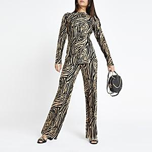 RI Petite - Beige plissé broek met zebraprint