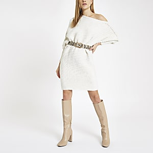 Cream knit asymmetric jumper dress