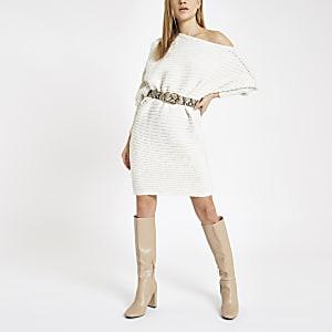 Cream knit asymmetric sweater dress