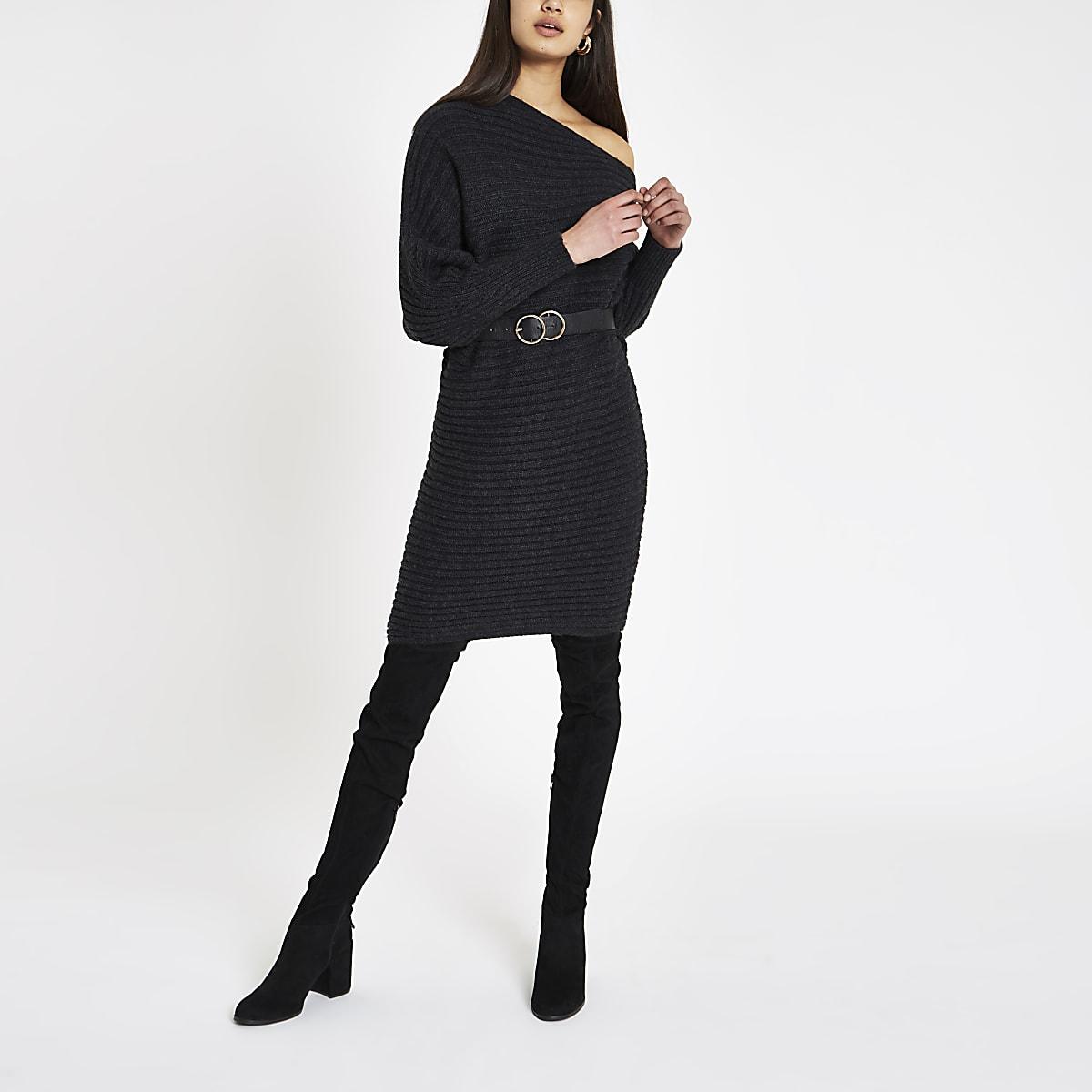 Dark grey asymmetric neck knit jumper dress