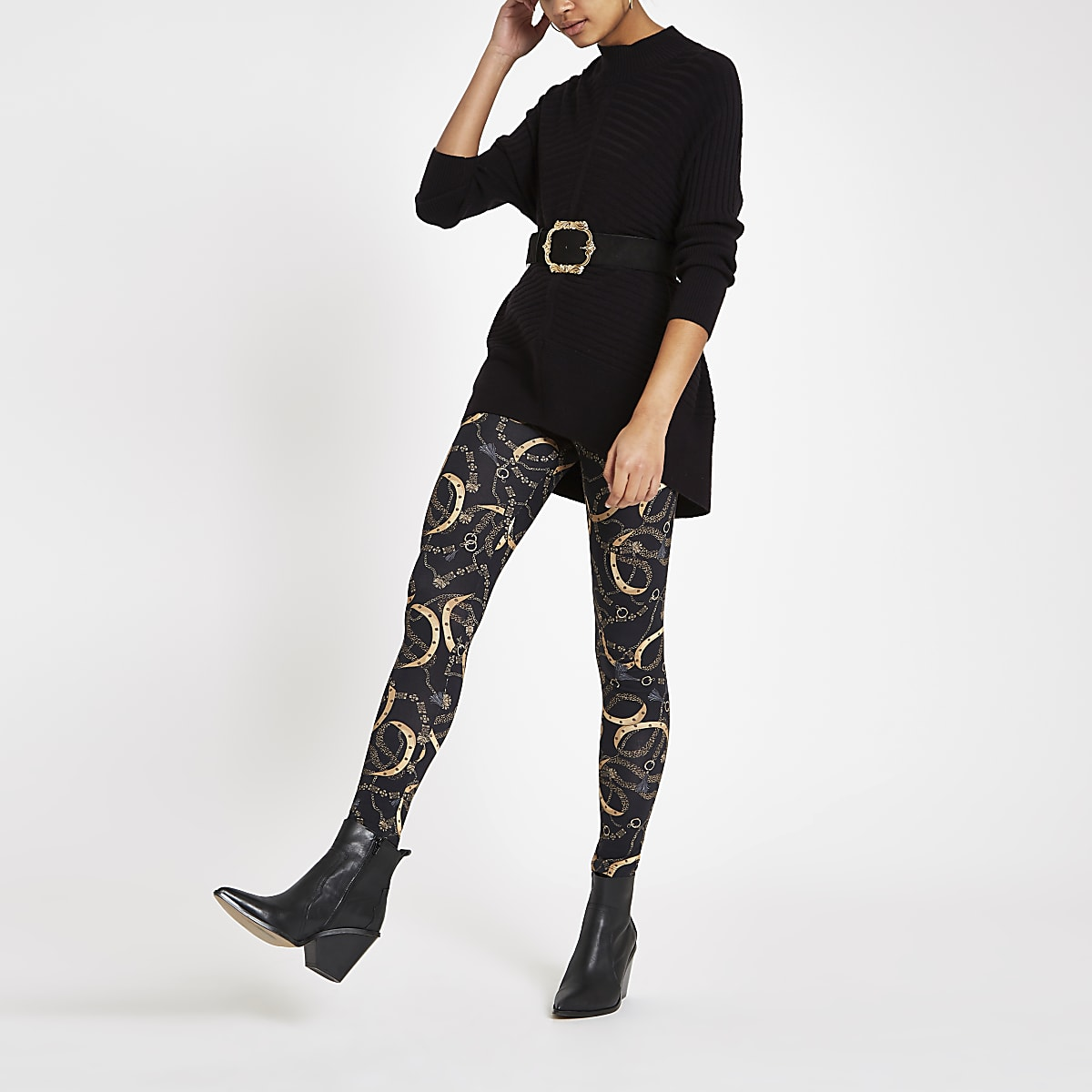 Zwarte legging met kettingprint