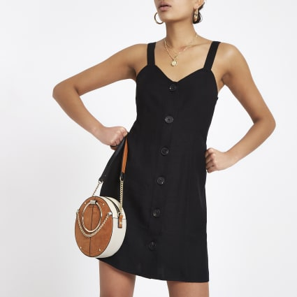 Black tie back slip dress