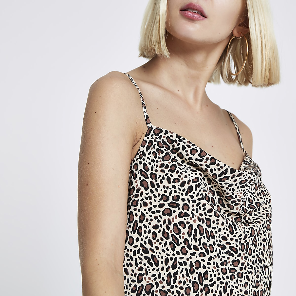 Brown leopard print cowl neck cami top