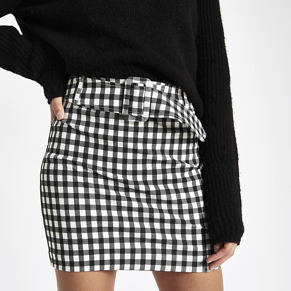 73850771470be6 Black gingham belted mini skirt - Mini Skirts - Skirts - women