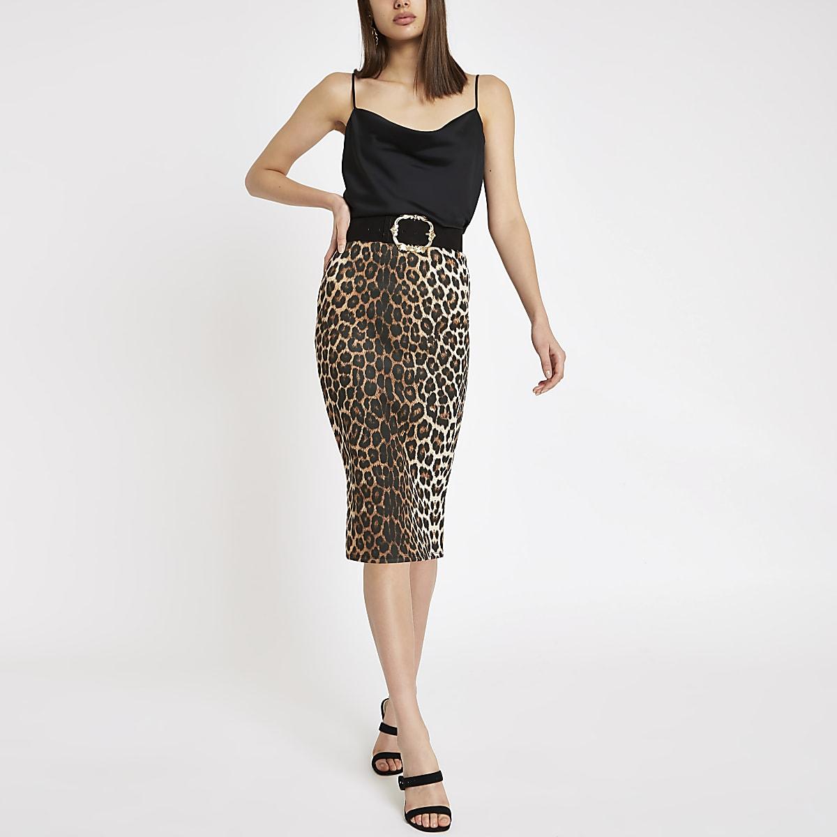 Brown leopard print pencil skirt
