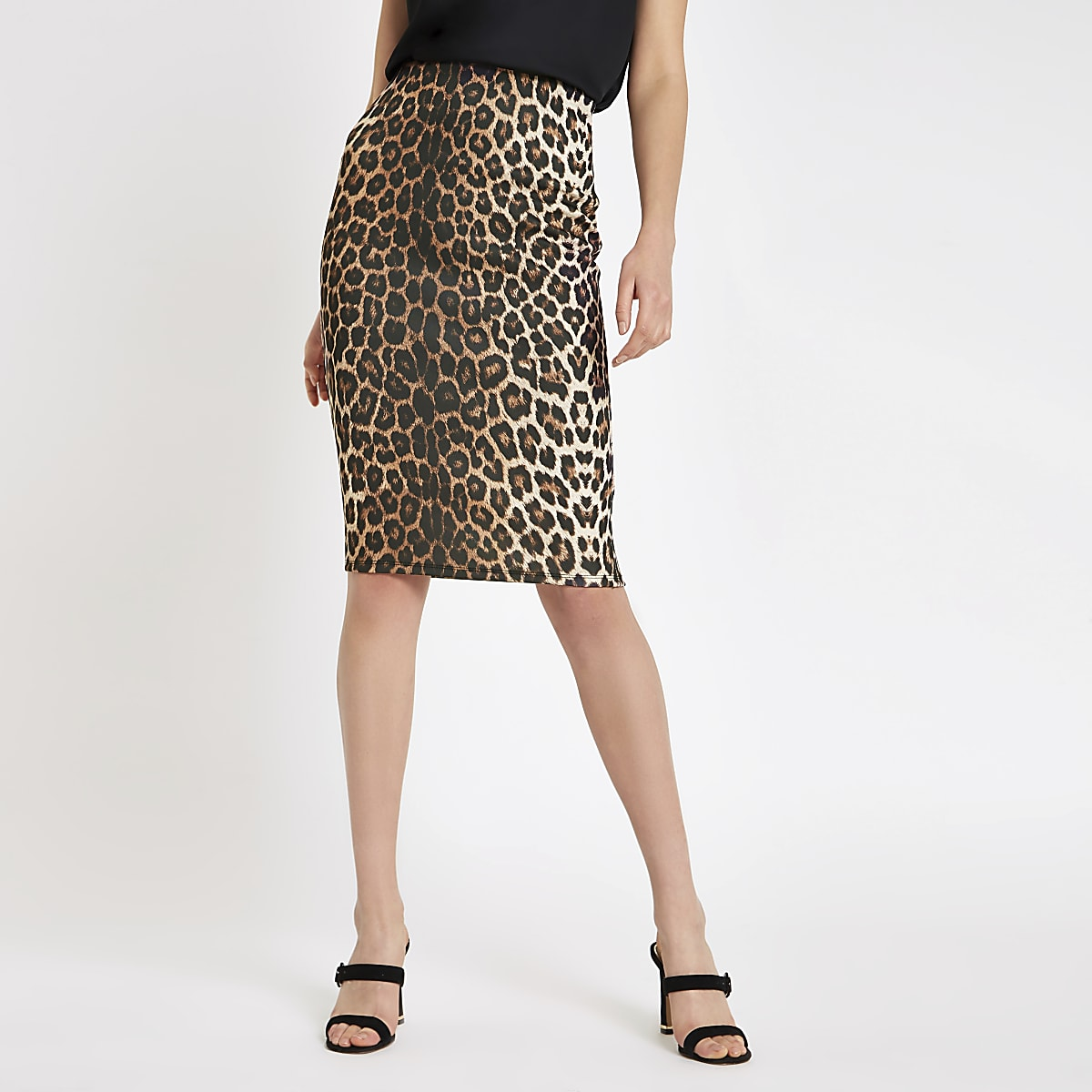 980828c01 Brown leopard print pencil skirt - Midi Skirts - Skirts - women