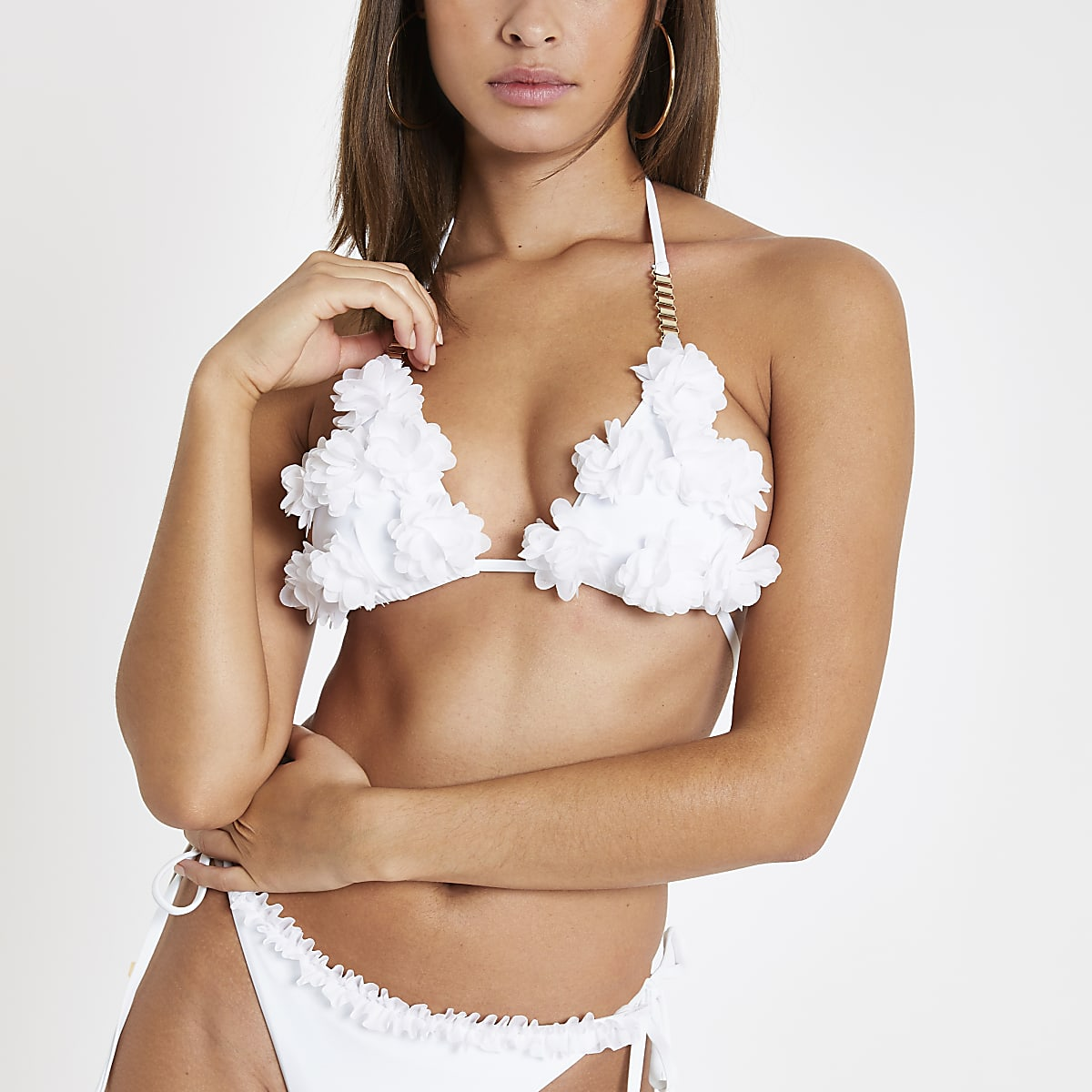 White ruffle flower triangle bikini top