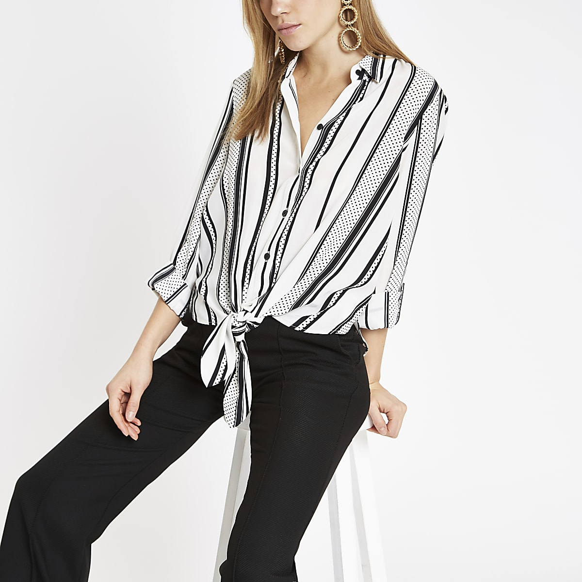 Black stripe print tie front shirt