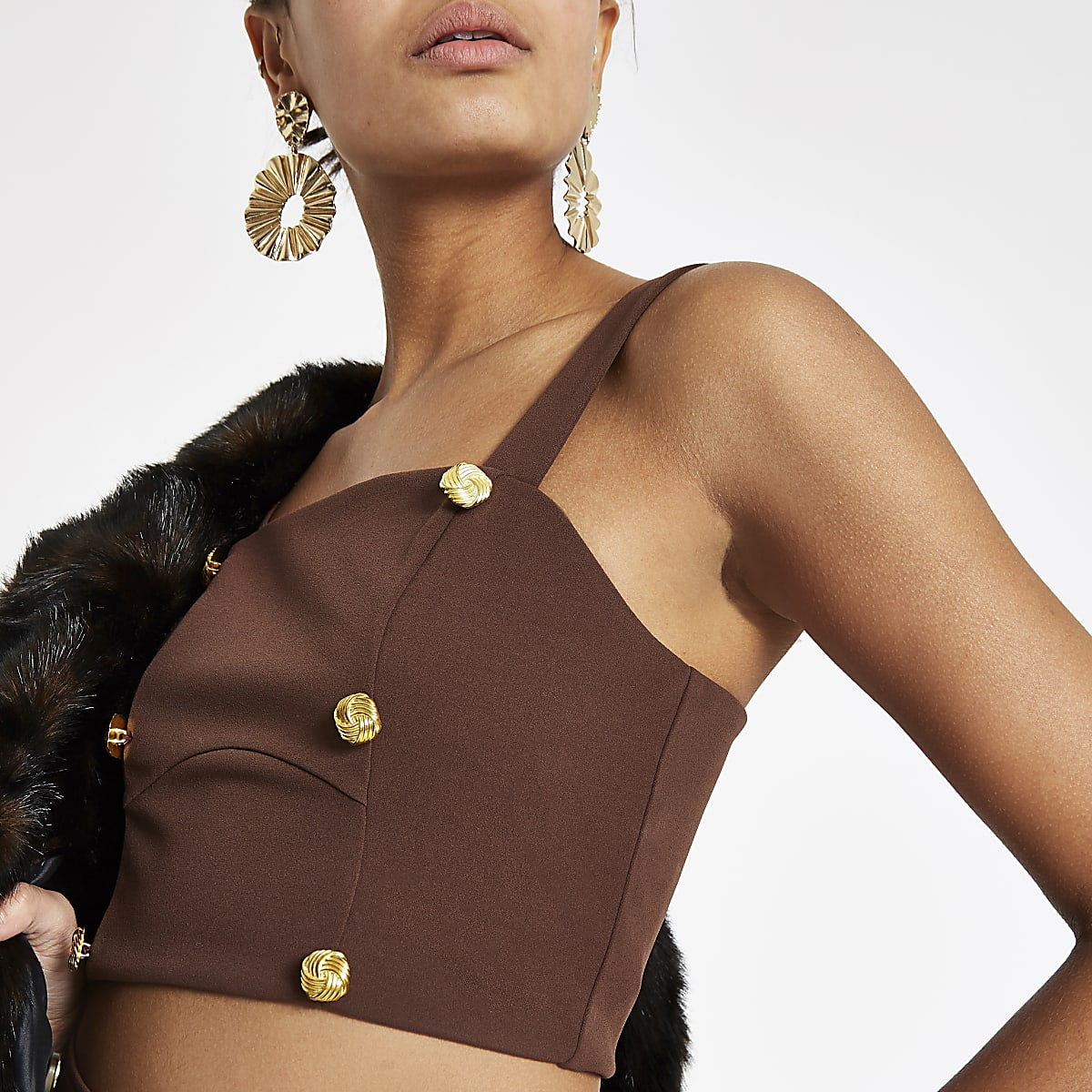 Brown button detail crop top