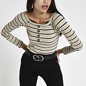Beige gestreepte bardot-bodysuit