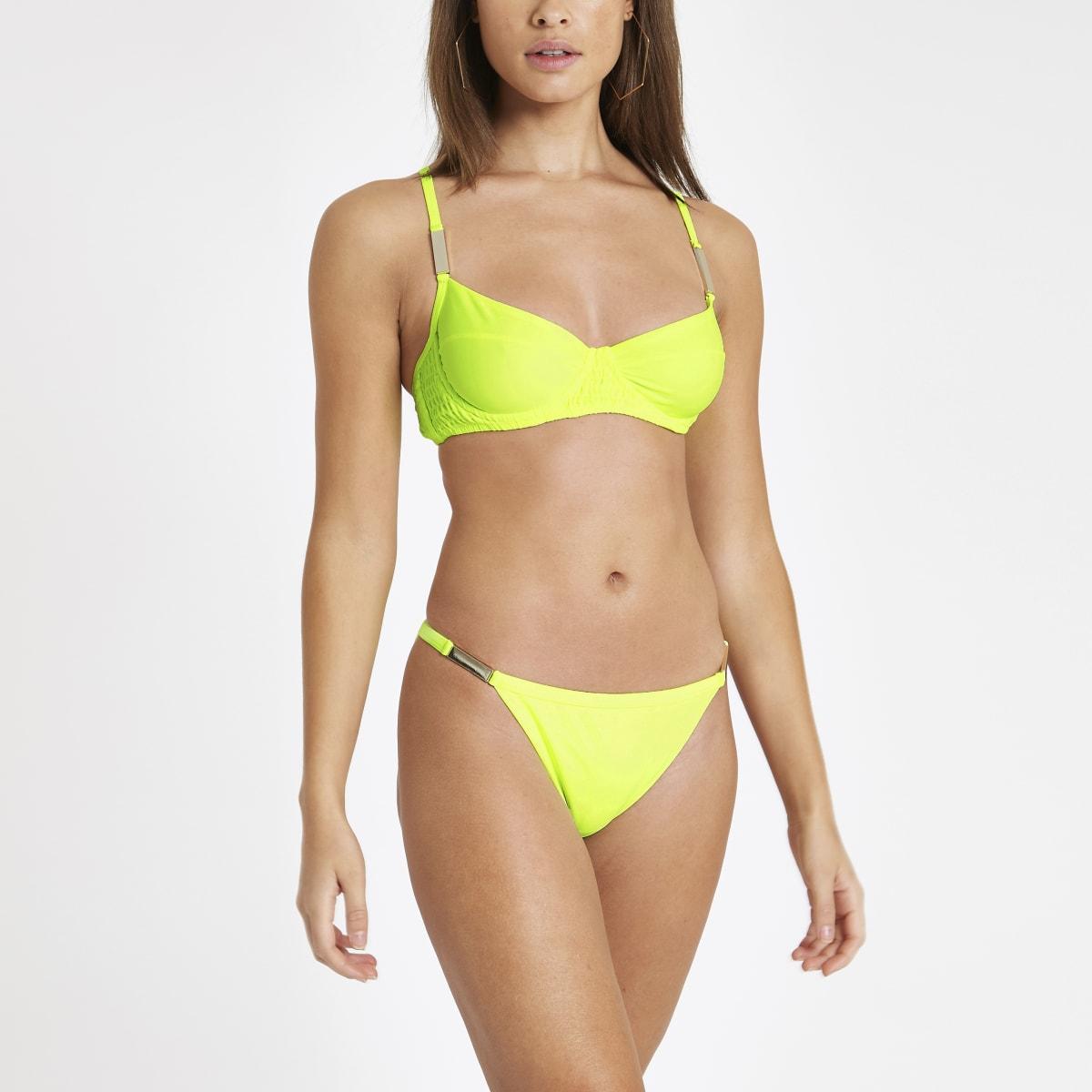 Bright yellow high leg bikini bottoms