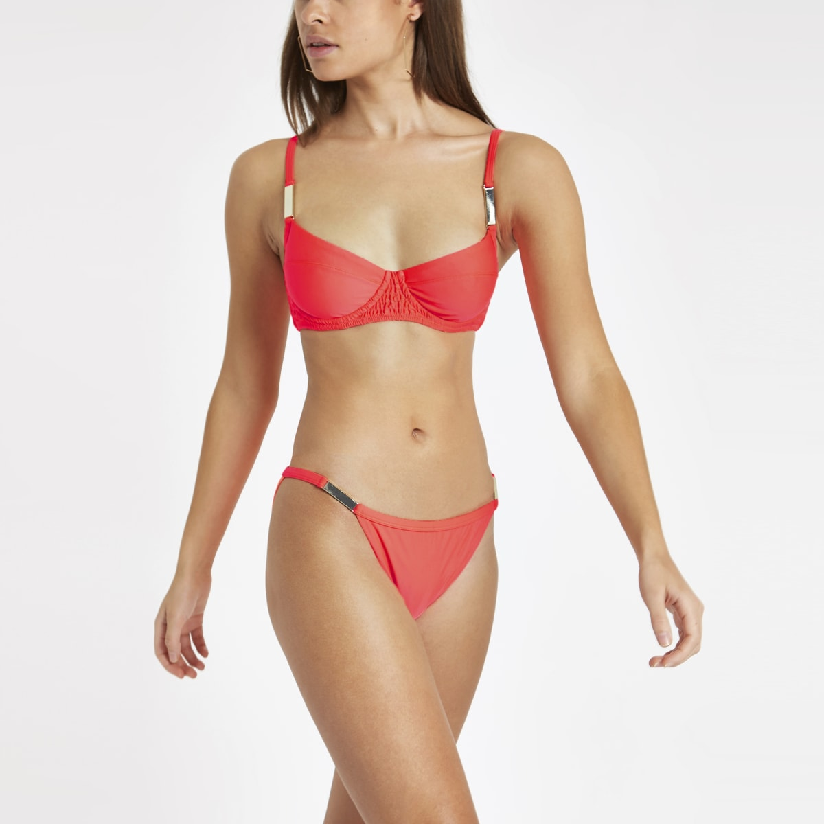 Bright coral shirred plunge bikini top