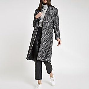 Black herringbone check knit belted robe coat