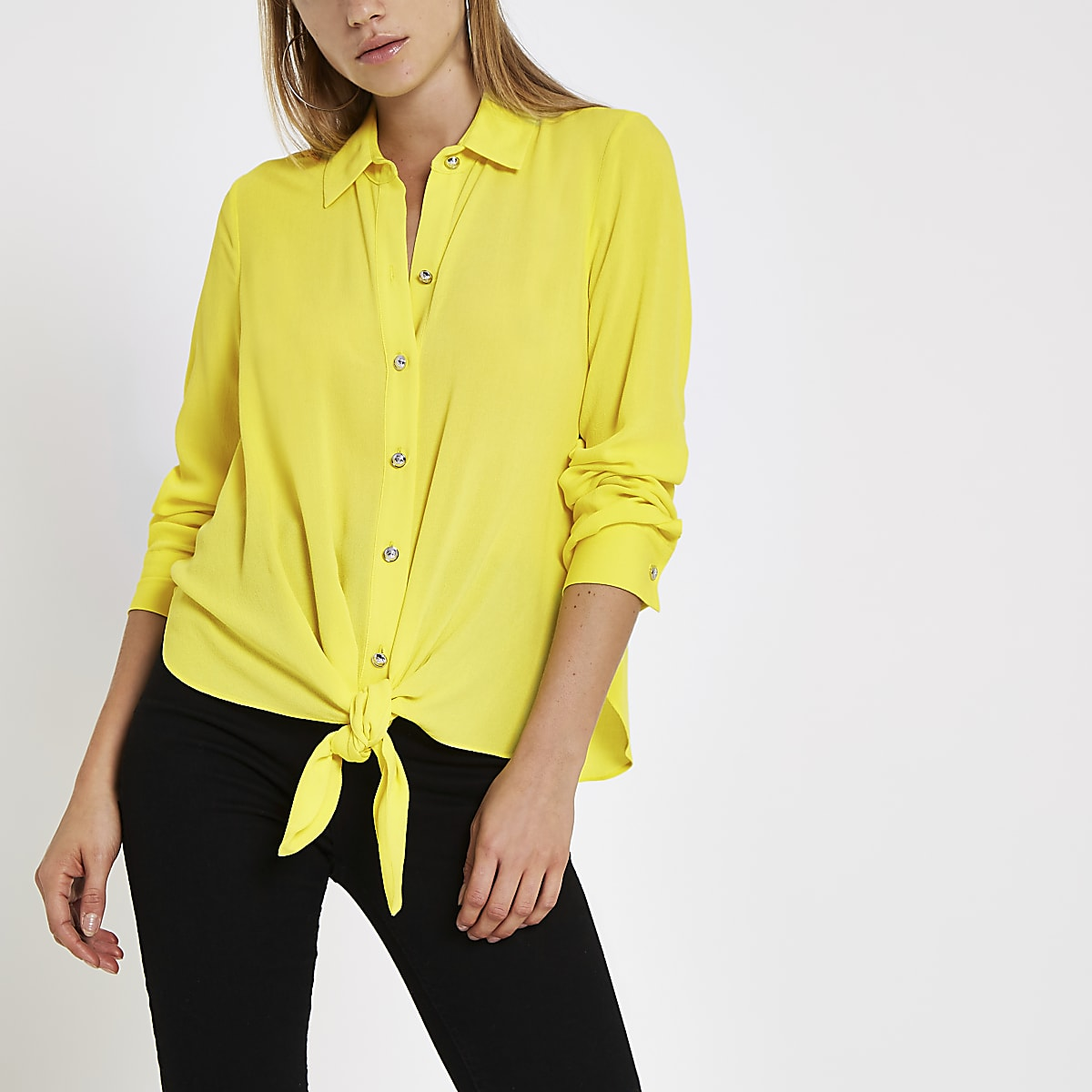 Lime tie front long sleeve shirt