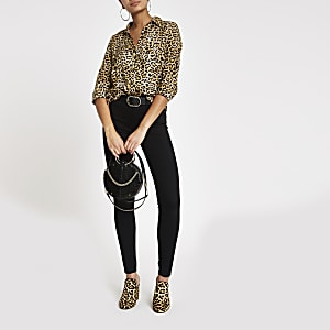 Brown leopard print long sleeve shirt