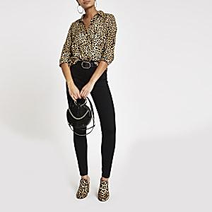 Bruin overhemd met luipaardprint en lange mouwen