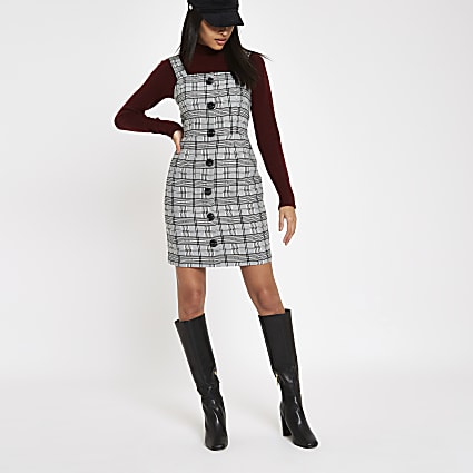 Grey check button front pinafore dress