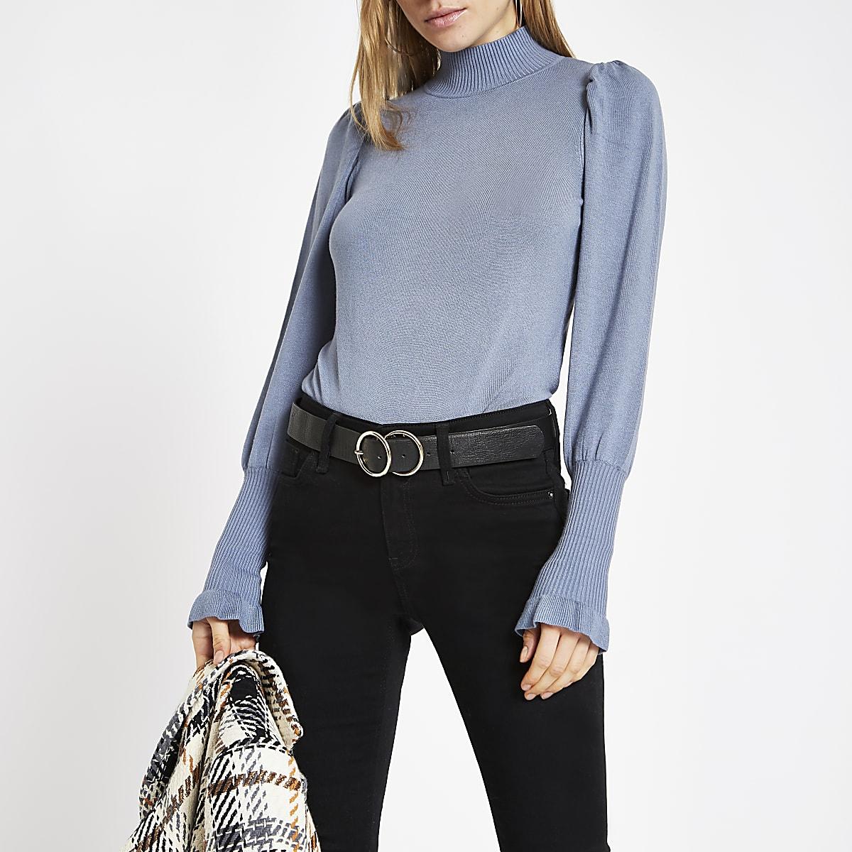 Blue knit frill turtle neck jumper