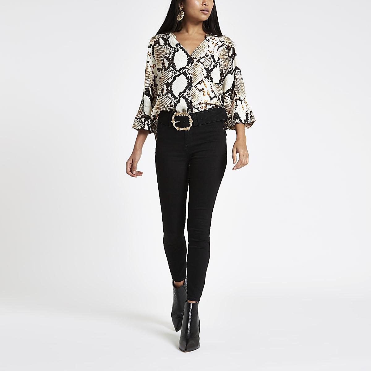 Petite brown snake print button blouse