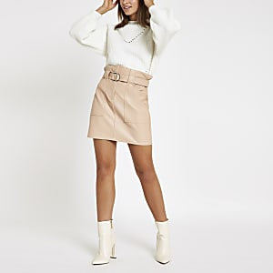 Beige faux leather paperbag waist mini skirt