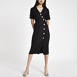Zwarte midi-jurk met knopen voor