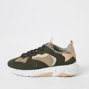 Khaki colour block runner trainers