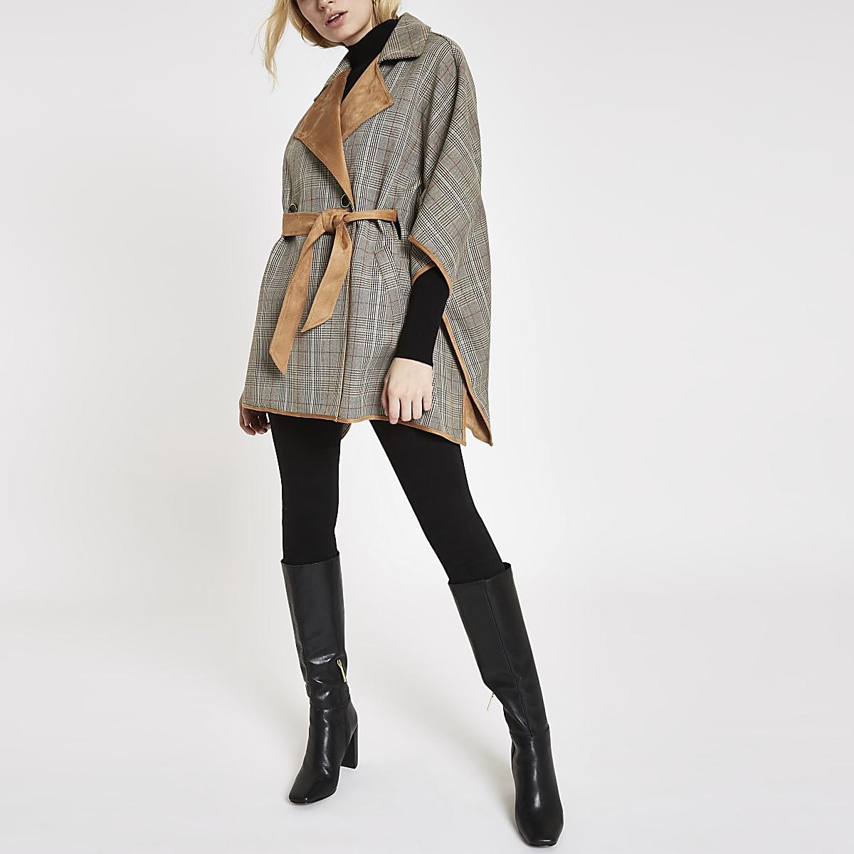 Veste cape à carreaux marron