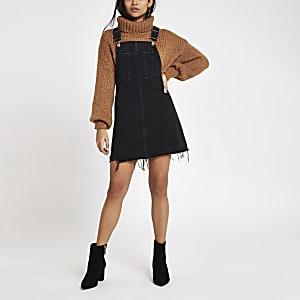 Petite black frayed hem denim overall dress