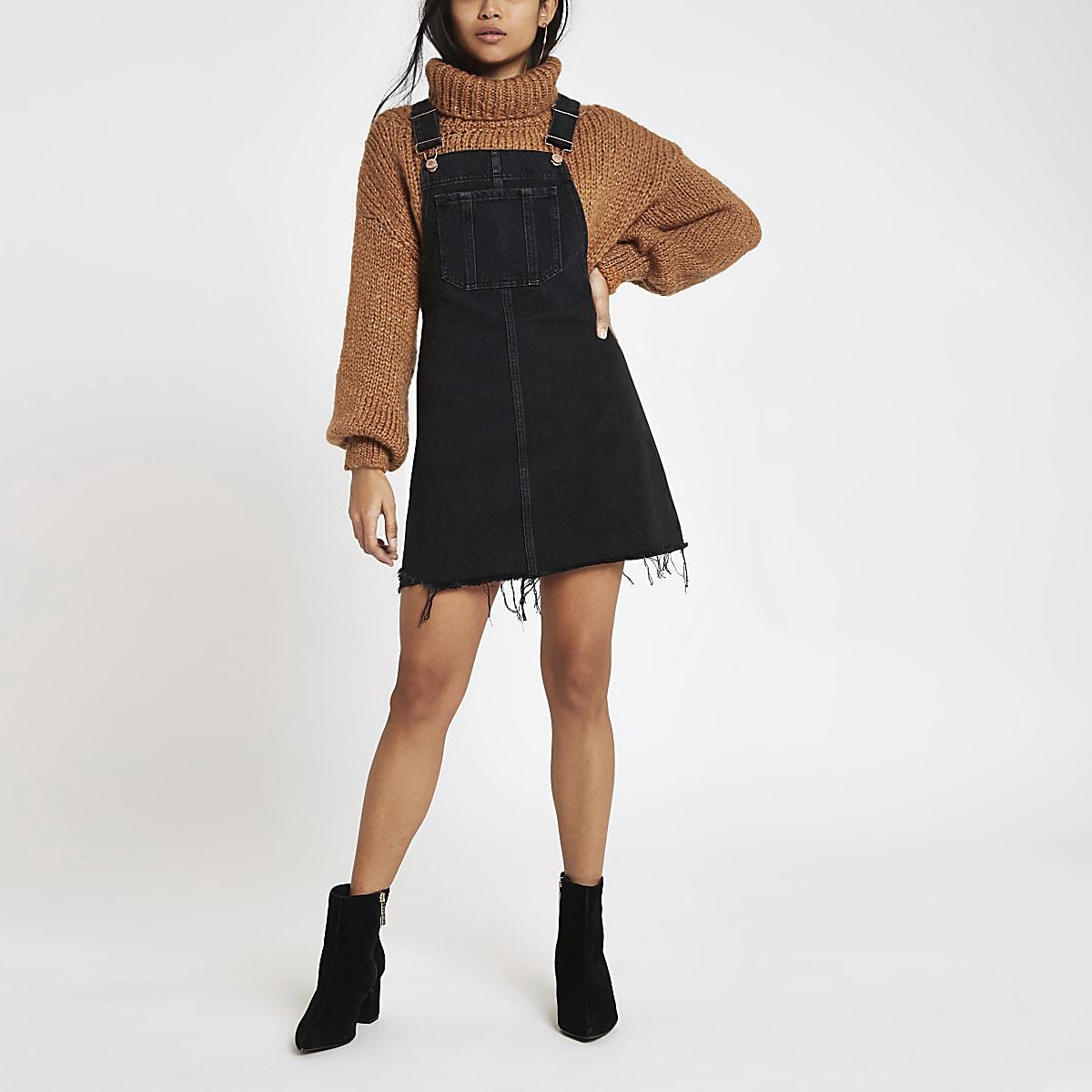 Petite black frayed hem denim dungaree dress